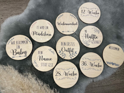 Vorderansicht der Meilensteinkarten aus Holz